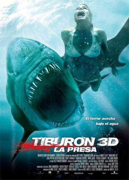 Cartel de Tiburón 3D, la presa
