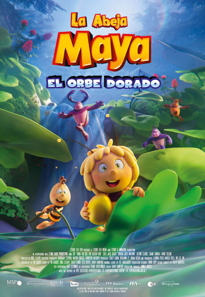 Cartel de La abeja Maya y el orbe dorado